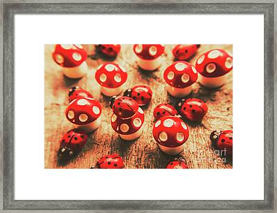 Wooden Bugs And Plastic Toadstools Framed Print