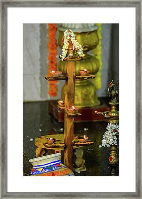 Wooden Candle Stand Framed Print by Srinivas Rao