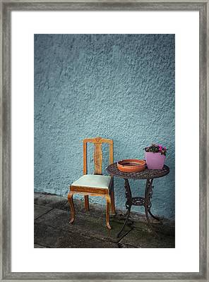 Wooden Chair And Iron Table Framed Print by Carlos Caetano