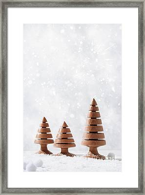 Wooden Christmas Tree Decorations Framed Print by Amanda Elwell