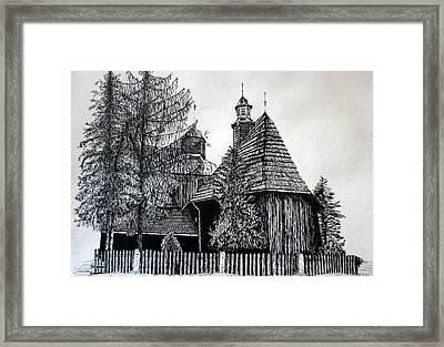Wooden Church Framed Print by Maria Woithofer