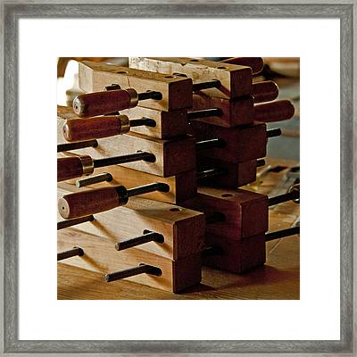 Wooden Clamps Framed Print by Wilma  Birdwell