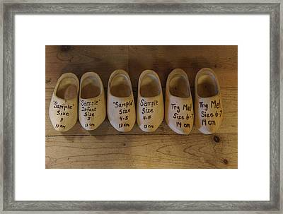 Wooden Clog Shoes Framed Print by Art Spectrum