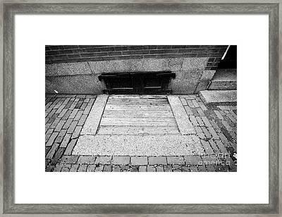 wooden covered basement access in sidewalk historic beacon hill Boston USA Framed Print