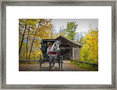 Wooden Covered Bridge And Amish Horse And Buggy In Autumn Framed Print