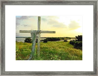 Wooden Cross 1 Framed Print by Sheri McLeroy