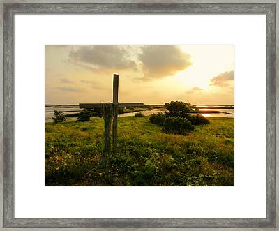 Wooden Cross 2 Framed Print by Sheri McLeroy