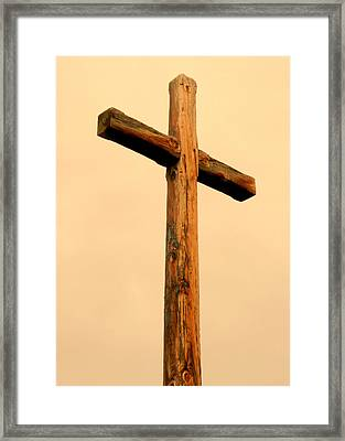 Wooden Cross Framed Print by Cindy Wright