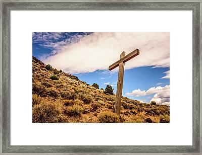 Wooden Cross Framed Print by Debra Martz