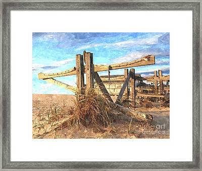 Wooden Cross Falmouth Beach Framed Print by Bryan Attewell