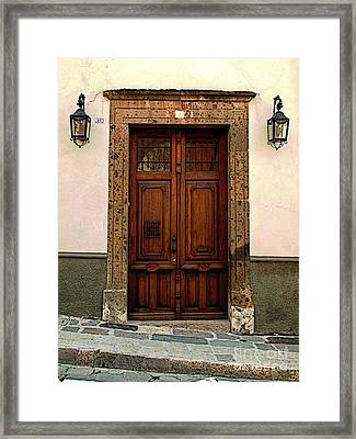 Wooden Door With Lamps Framed Print by Mexicolors Art Photography