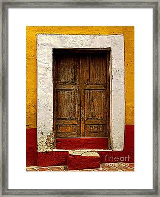 Wooden Door With White Trim Framed Print