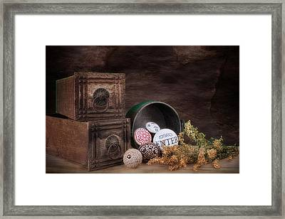 Wooden Drawers And Knobs Still Life Framed Print by Tom Mc Nemar