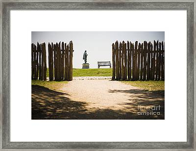 Wooden Fence And Statue Of John Smith Framed Print by Roberto Westbrook