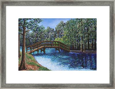 Wooden Foot Bridge At The Park Framed Print