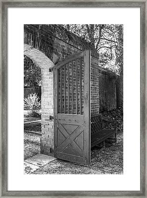 Wooden Garden Door B W Framed Print