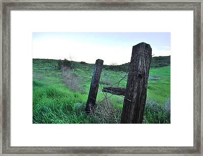 Framed Print featuring the photograph Wooden Gate In Field by Matt Harang