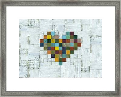 Framed Print featuring the digital art Wooden Heart 2.0 by Michelle Calkins