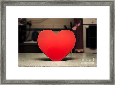 Wooden Heart Shape Chopping Block On Kitchen Bench Framed Print