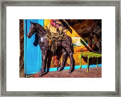 Wooden Horse Santa Fe Framed Print