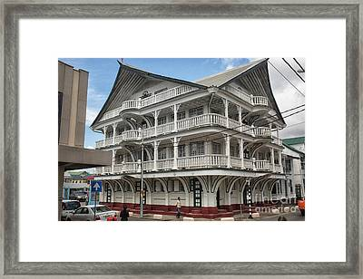 Wooden House In Colonial Style In Downtown Suriname Framed Print by Patricia Hofmeester
