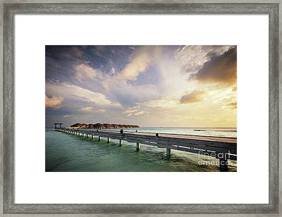 Wooden Jetty And Water Villas. Maldives Island Resort At Sunset Framed Print