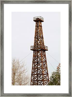 Wooden Oil Derrick Framed Print by Art Block Collections