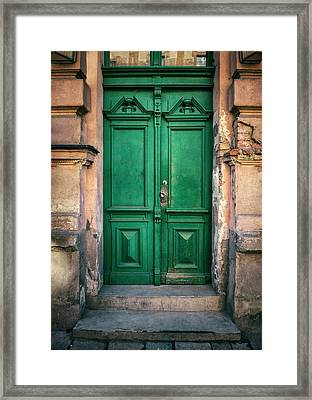 Wooden Ornamented Gate In Green Color Framed Print