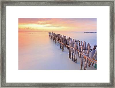 Wooden Posts Into  Sea Framed Print by Enzo Figueres