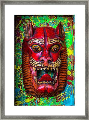 Wooden Red Cat Mask Framed Print by Garry Gay