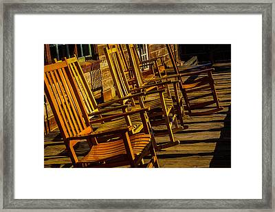 Wooden Rocking Chairs Framed Print by Garry Gay