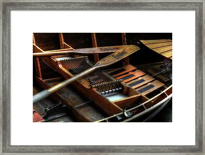 Wooden Rowboat And Oars Framed Print