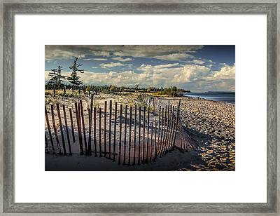Wooden Sand Fence On The Beach At Glen Haven Michigan Framed Print