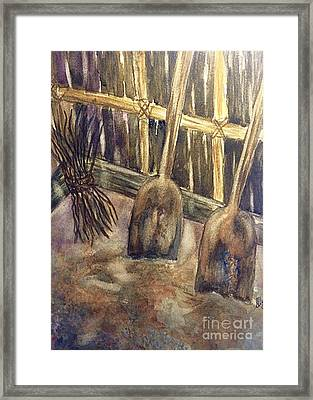 Wooden Shovels N Stick Bundle Still Life  Framed Print