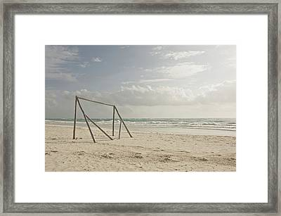 Wooden Soccer Net On Beach Framed Print