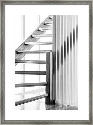 Framed Print featuring the photograph Wooden Staircase Black And White by Tim Hester