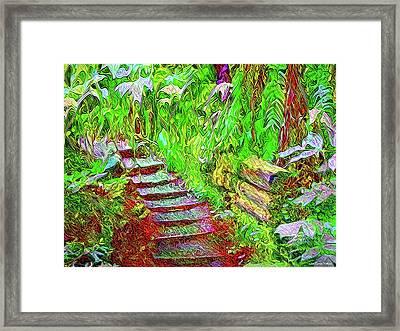 Framed Print featuring the digital art Wooden Steps Through The Forest - Tamalpais California by Joel Bruce Wallach