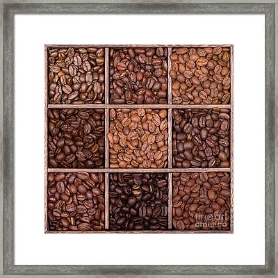 Wooden Storage Box Filled With Coffee Beans Framed Print