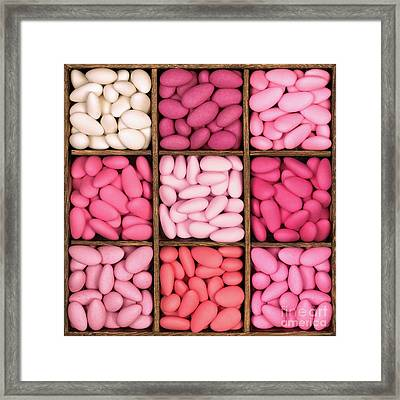 Wooden Storage Box Filled With Pink Sugared Almonds. Framed Print