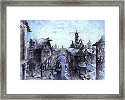 Wooden Town On The Frozen Lake Framed Print