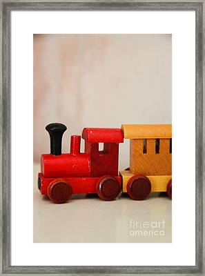 Wooden Toy Train Framed Print by Jacqueline Moore
