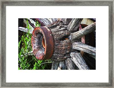 Wooden Wagon Wheel Framed Print by Donald  Erickson