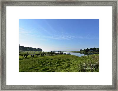 Wooden Walkway In Duxbury Out To The Bay Framed Print by DejaVu Designs