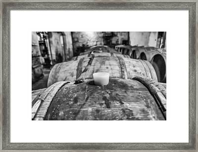 Wooden Wine Barrel Row Framed Print