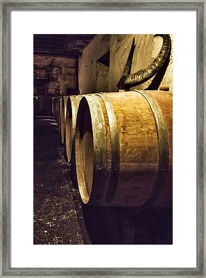 Wooden Wine Barrels Framed Print