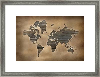 Wooden World Map Framed Print by Lori Deiter