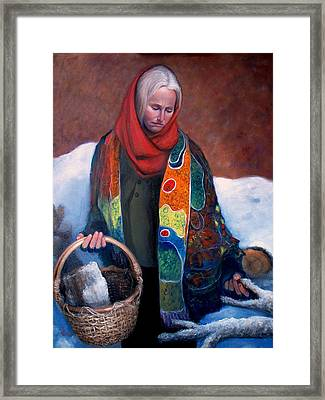 Framed Print featuring the painting Woodgatherer by Donelli  DiMaria