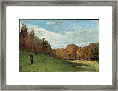 Woodgatherers At The Edge Of The Forest  Framed Print