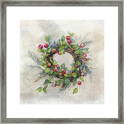 Woodland Berry Wreath Framed Print