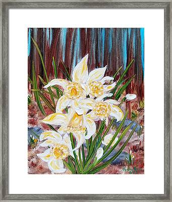 Framed Print featuring the painting Woodland Daffodils by Judith Rhue